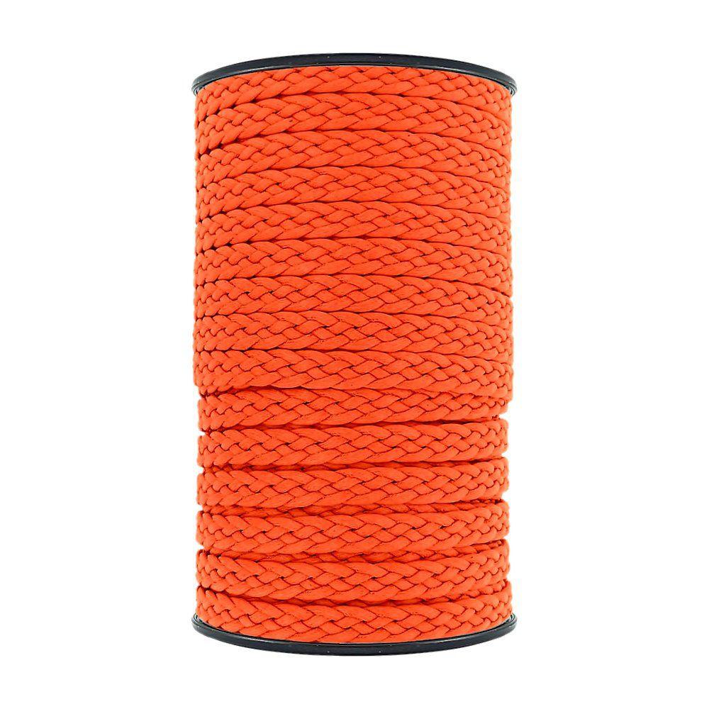 Cordão Encerado Trançado - Laranja Neon - 10mm - 50m  - Nathalia Bijoux®