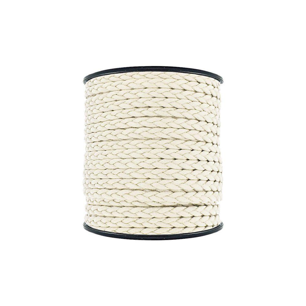 Cordão Encerado Trançado - Cru - 6mm - 50m  - Nathalia Bijoux®