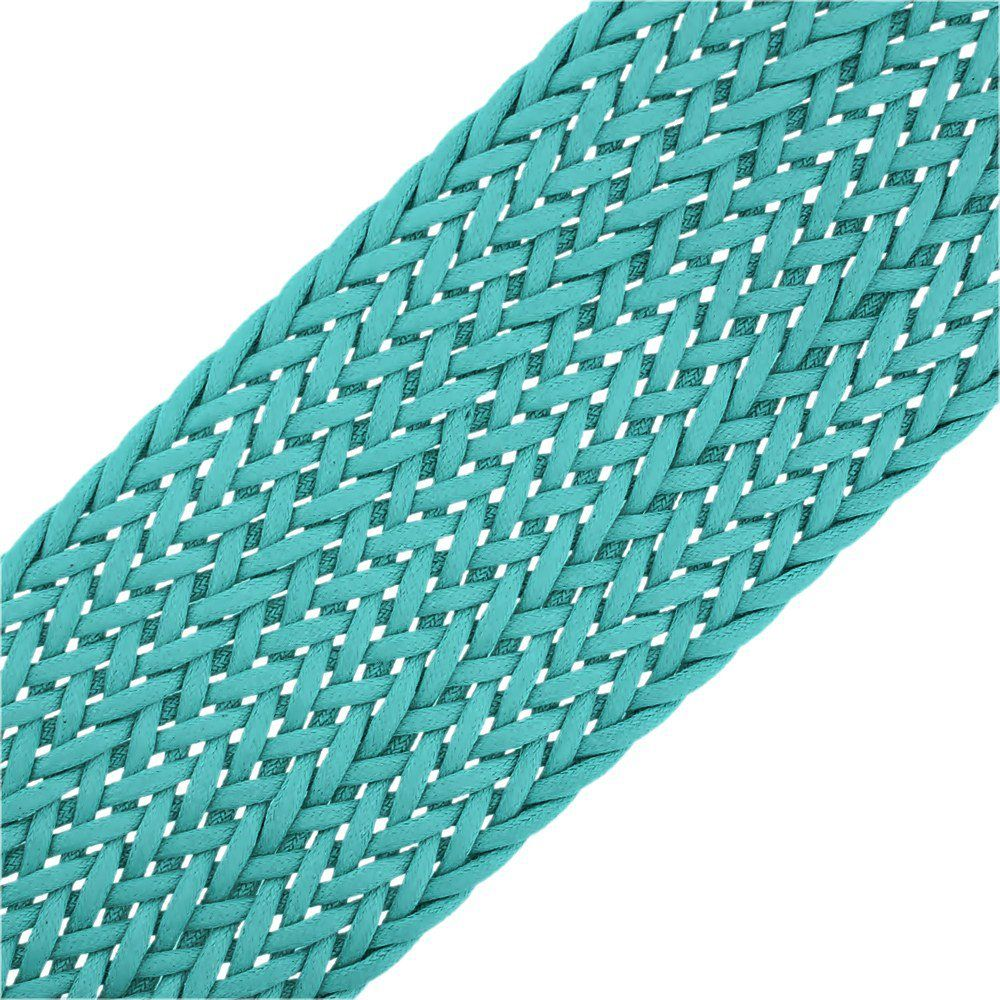 Cordão Encerado Trançado - Azul Piscina - 50mm - 10m  - Nathalia Bijoux®