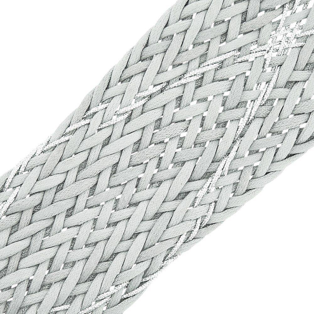 Cordão Encerado Trançado com Lurex - Cinza com Prata - 50mm - 10m  - Nathalia Bijoux®