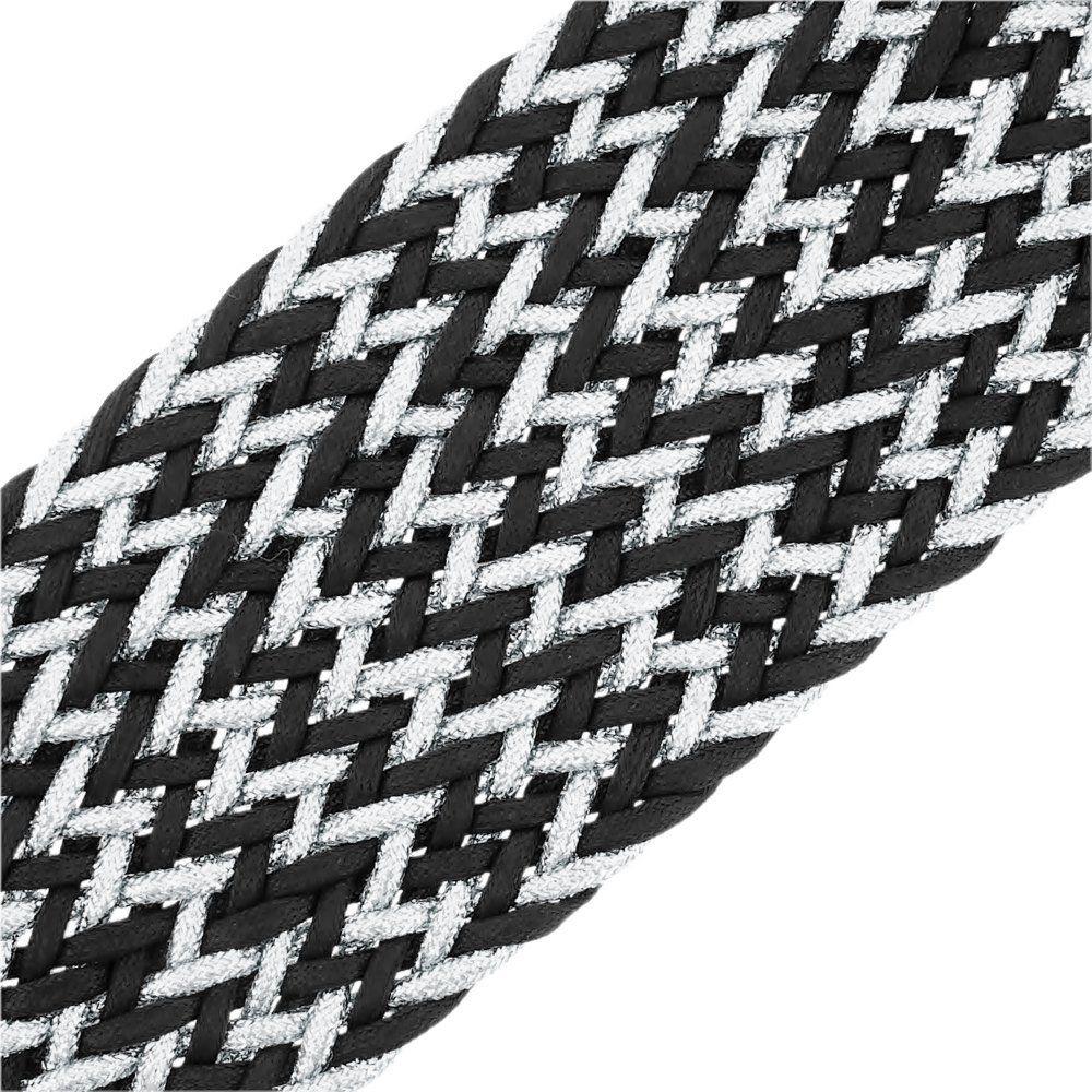 Cordão Encerado Trançado com Lurex - Preto com Prata - 50mm - 10m  - Nathalia Bijoux®