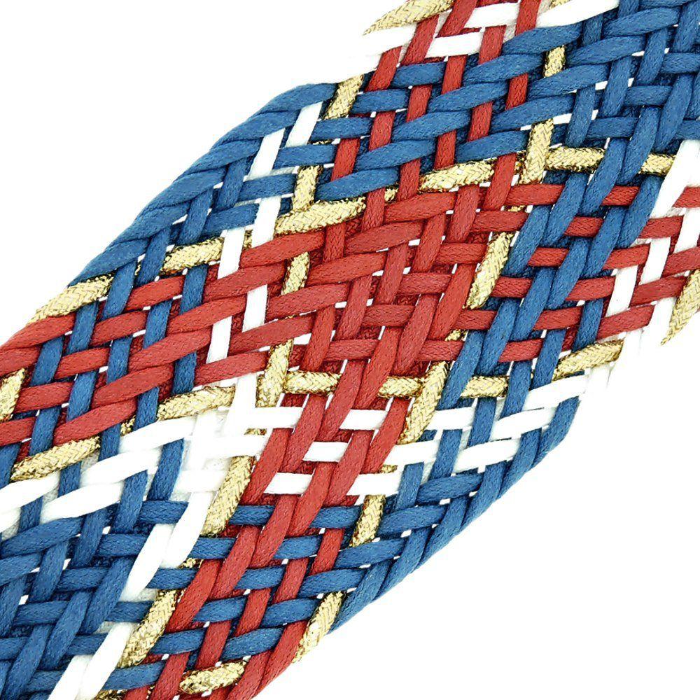 Cordão Encerado Trançado com Lurex - Royal com Vermelho, Branco e Dourado - 50mm - 10m  - Nathalia Bijoux®