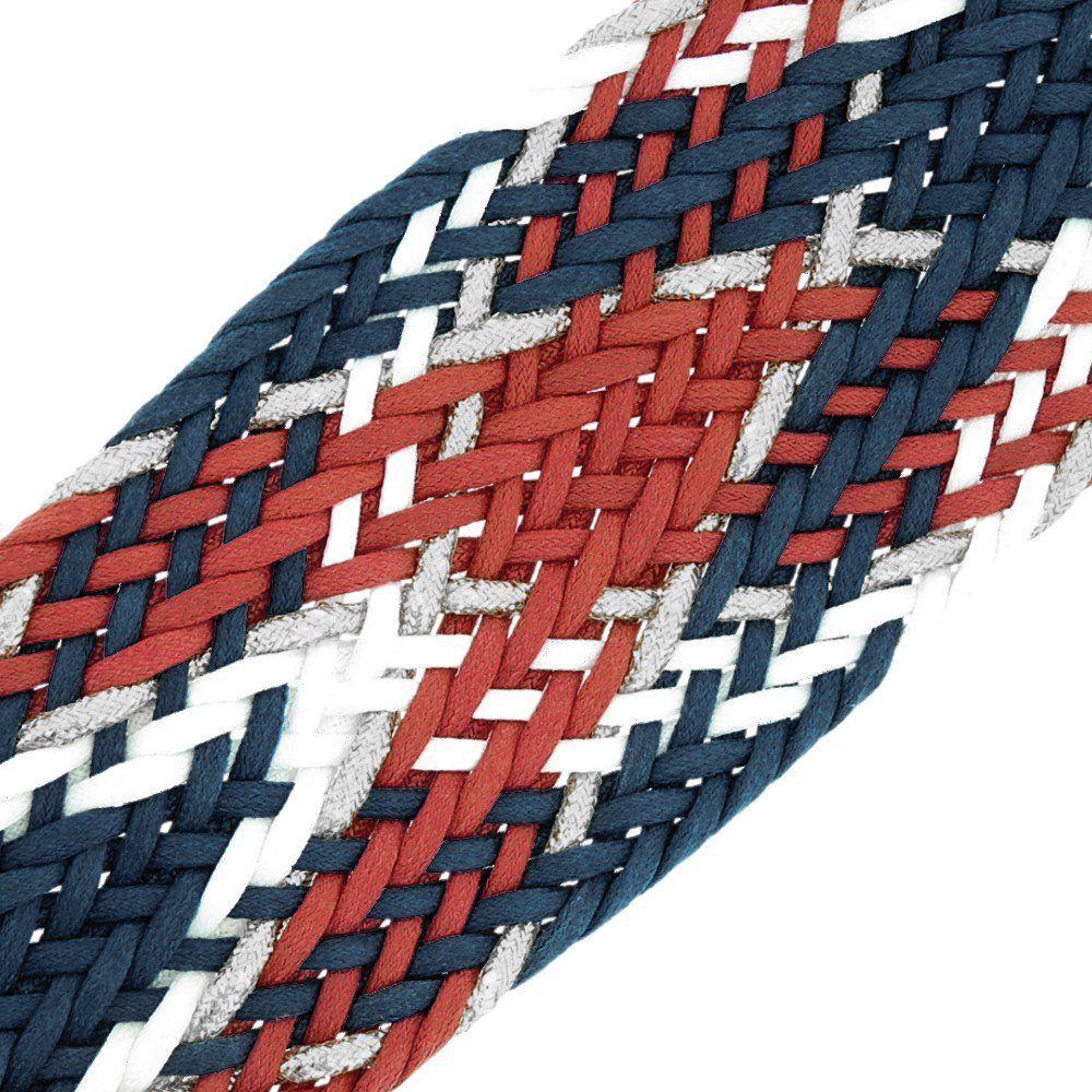 Cordão Encerado Trançado com Lurex - Marinho com Vermelho, Branco e Prata - 50mm - 10m  - Nathalia Bijoux®