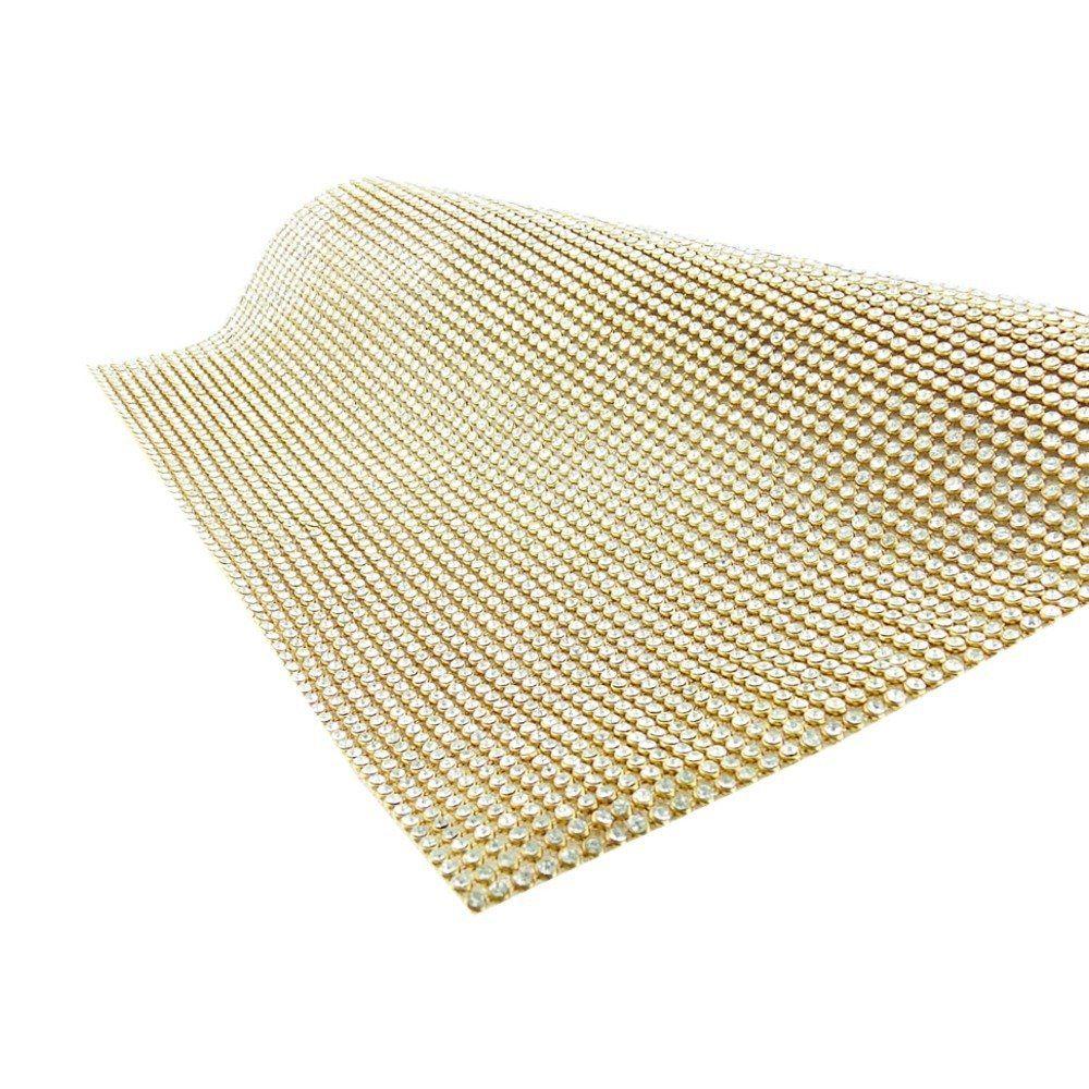 Manta de Strass - Cristal com Dourado - Premiatto® - Peça Inteira  - Nathalia Bijoux®
