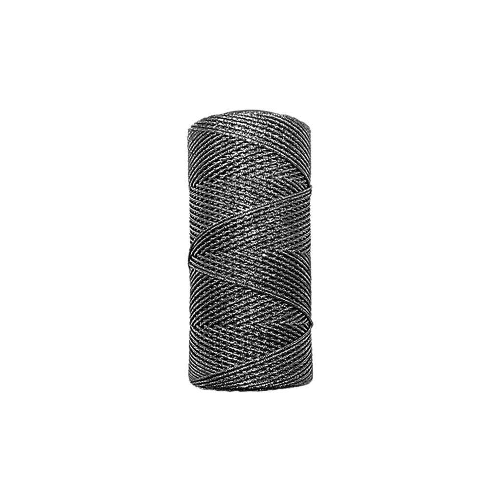 Cordão de Lurex - Preto com Prata - 1mm - 100m  - Nathalia Bijoux®