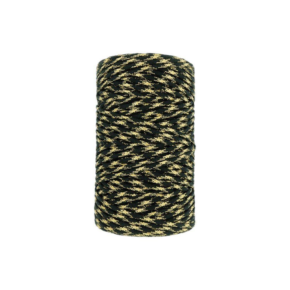 Cordão Encerado com Lurex - Preto com Dourado - 2mm - 100m  - Nathalia Bijoux®