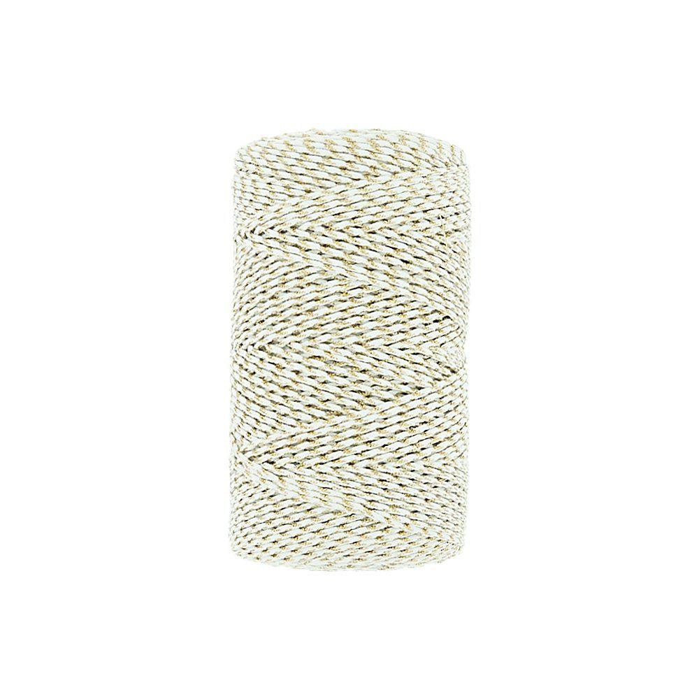 Cordão Encerado com Lurex - Branco Alvejado com Dourado - 1mm - 100m  - Nathalia Bijoux®