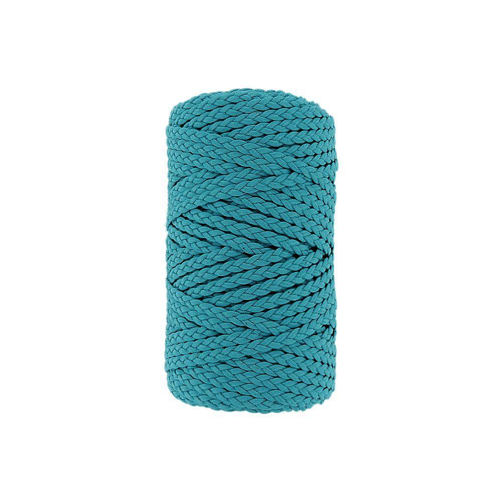 Cordão Encerado Trançado - Azul Piscina (414) - 5mm - 50m  - Nathalia Bijoux®