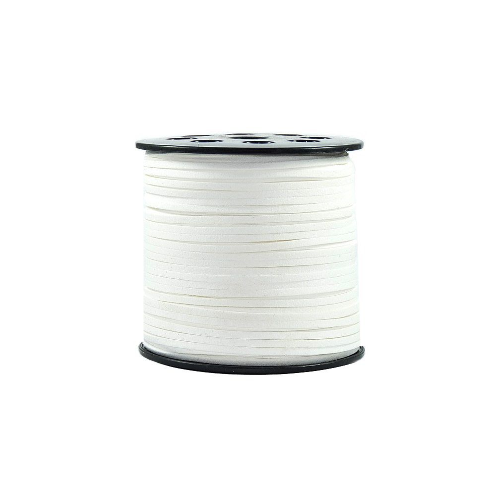Fio de Camurça - Branco - 3mm - 100m  - Nathalia Bijoux®