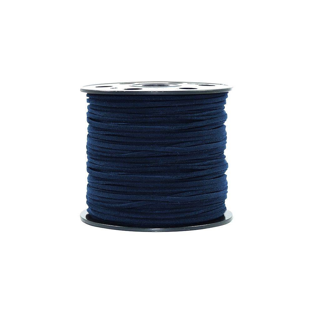 Fio de Camurça - Azul Marinho - 3mm - 100m  - Nathalia Bijoux®