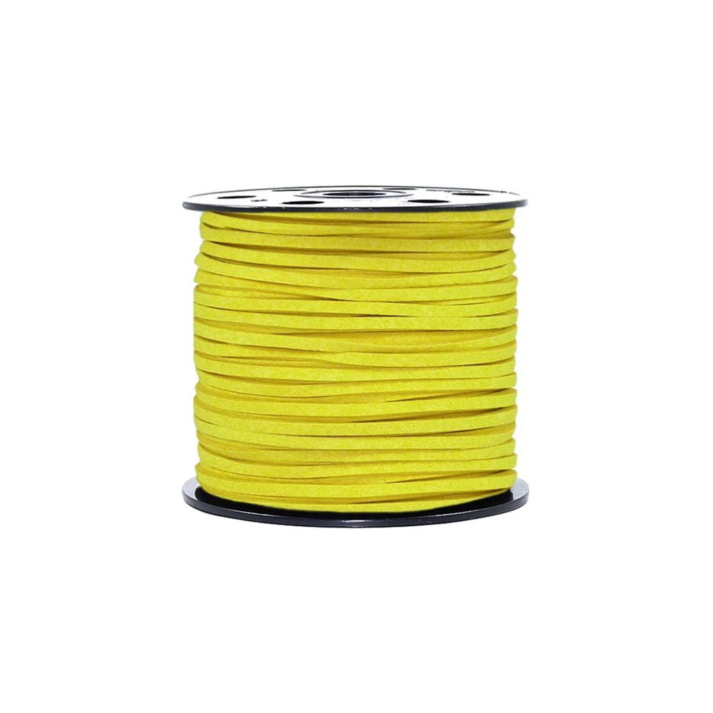 Fio de Camurça - Amarelo Canário - 3mm - 100m  - Nathalia Bijoux®