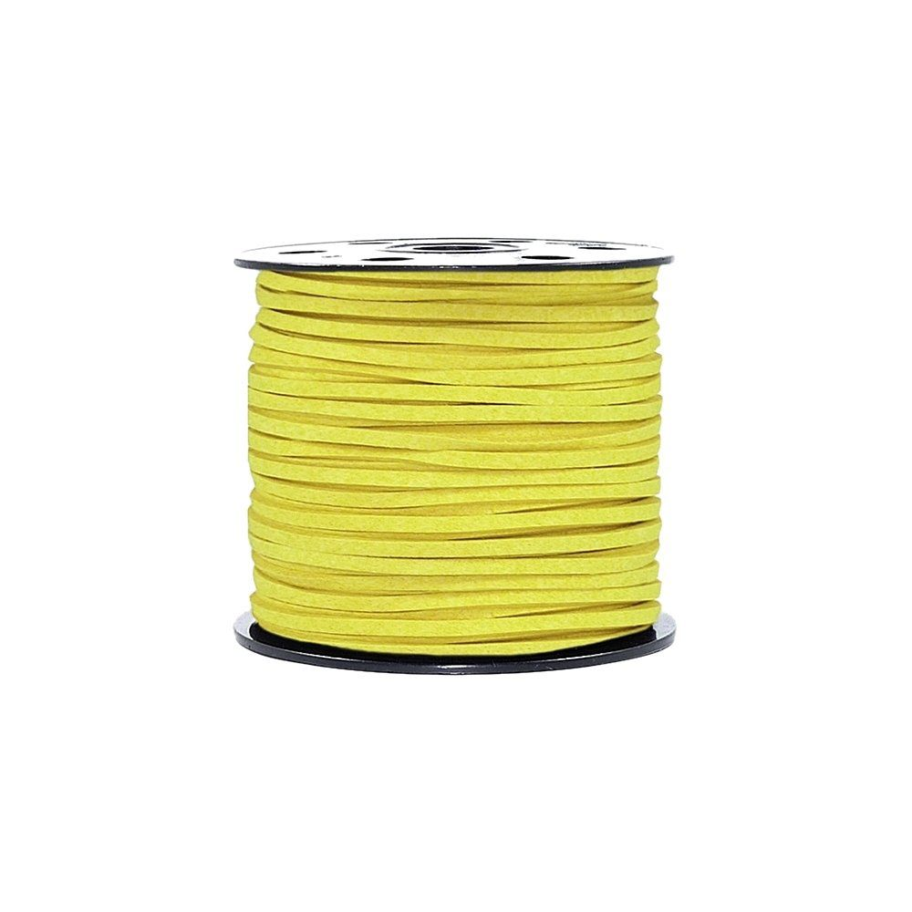 Fio de Camurça - Amarelo Neon - 3mm - 100m  - Nathalia Bijoux®