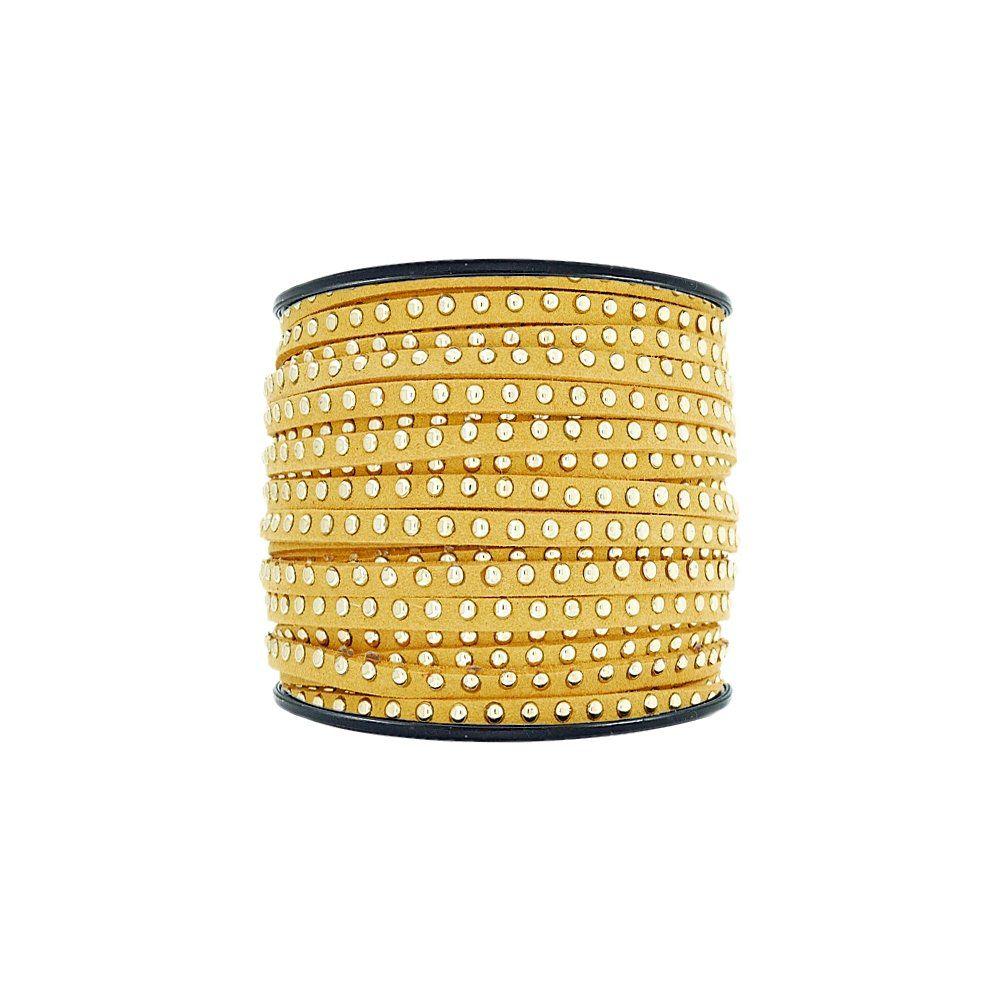 Fio de Camurça - Amarelo com Aplique Dourado - 3mm - 50m  - Nathalia Bijoux®