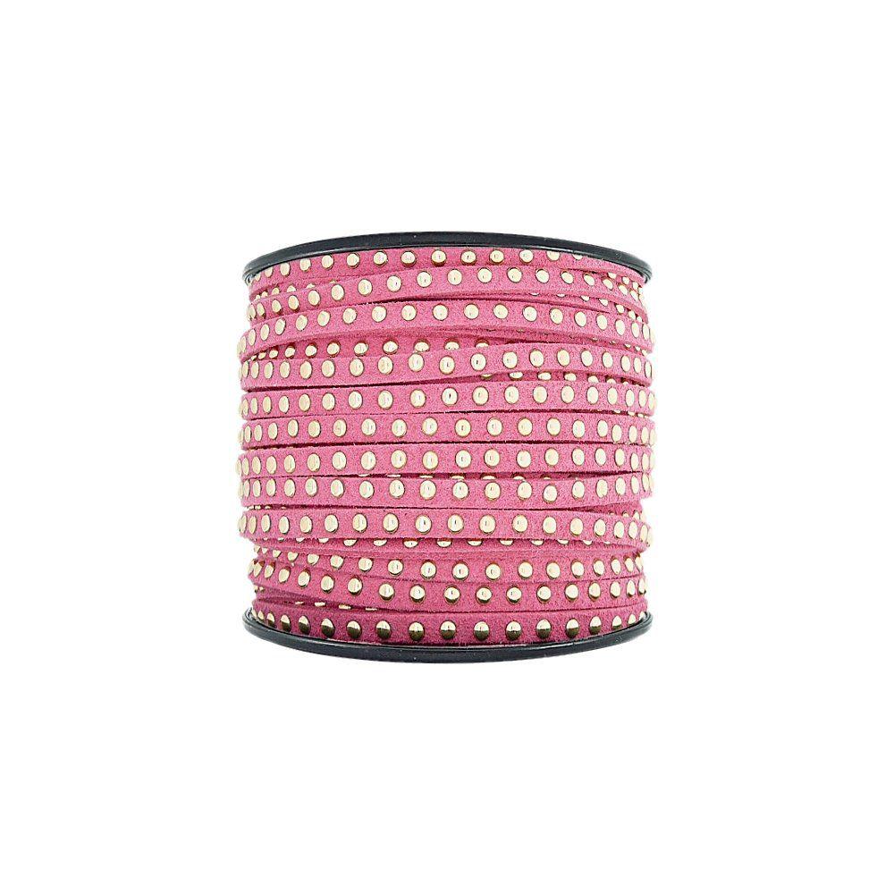 Fio de Camurça - Pink com Aplique Dourado - 3mm - 50m  - Nathalia Bijoux®