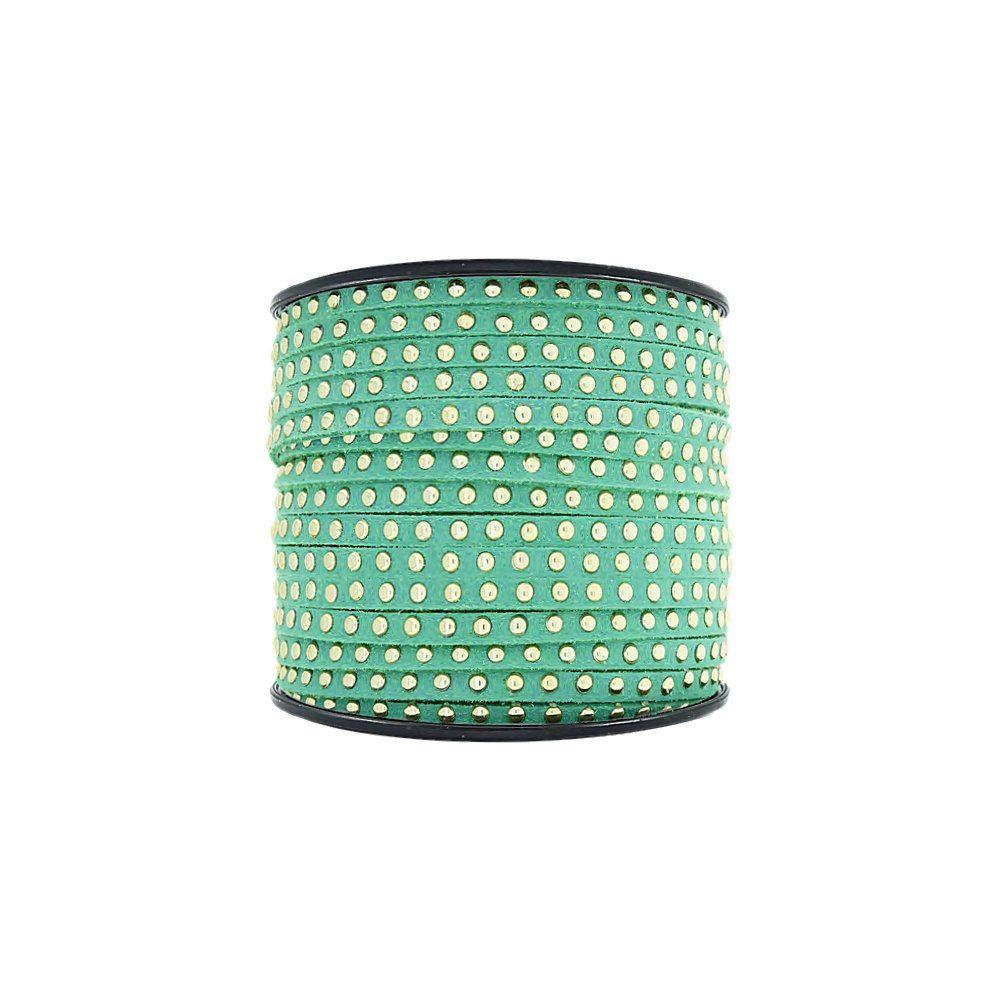 Fio de Camurça - Verde com Aplique Dourado - 3mm - 50m  - Nathalia Bijoux®