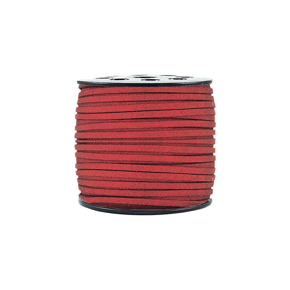 Fio de Camurça - Vermelho com Glitter - 3mm - 100m  - Nathalia Bijoux®