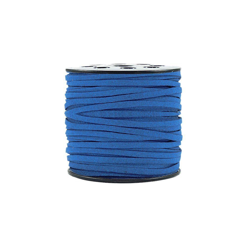 Fio de Camurça - Azul Royal com Glitter - 3mm - 100m  - Nathalia Bijoux®
