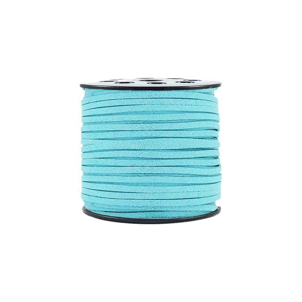 Fio de Camurça - Azul Turquesa com Glitter - 3mm - 100m  - Nathalia Bijoux®