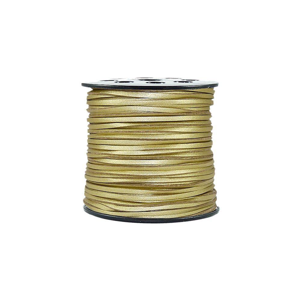 Fio de Camurça - Dourado Especial - 3mm - 100m  - Nathalia Bijoux®