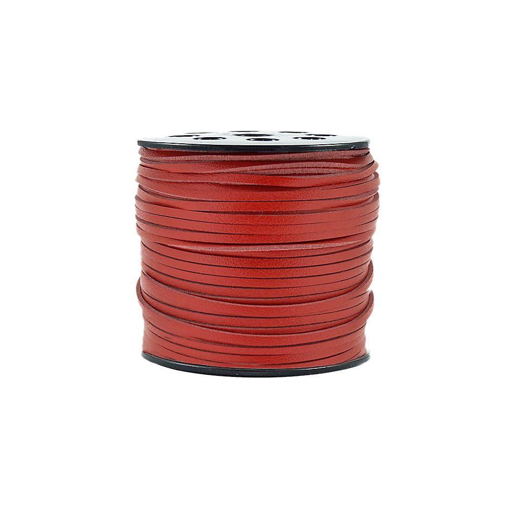 Fio de Camurça - Vermelho Especial - 3mm - 100m  - Nathalia Bijoux®