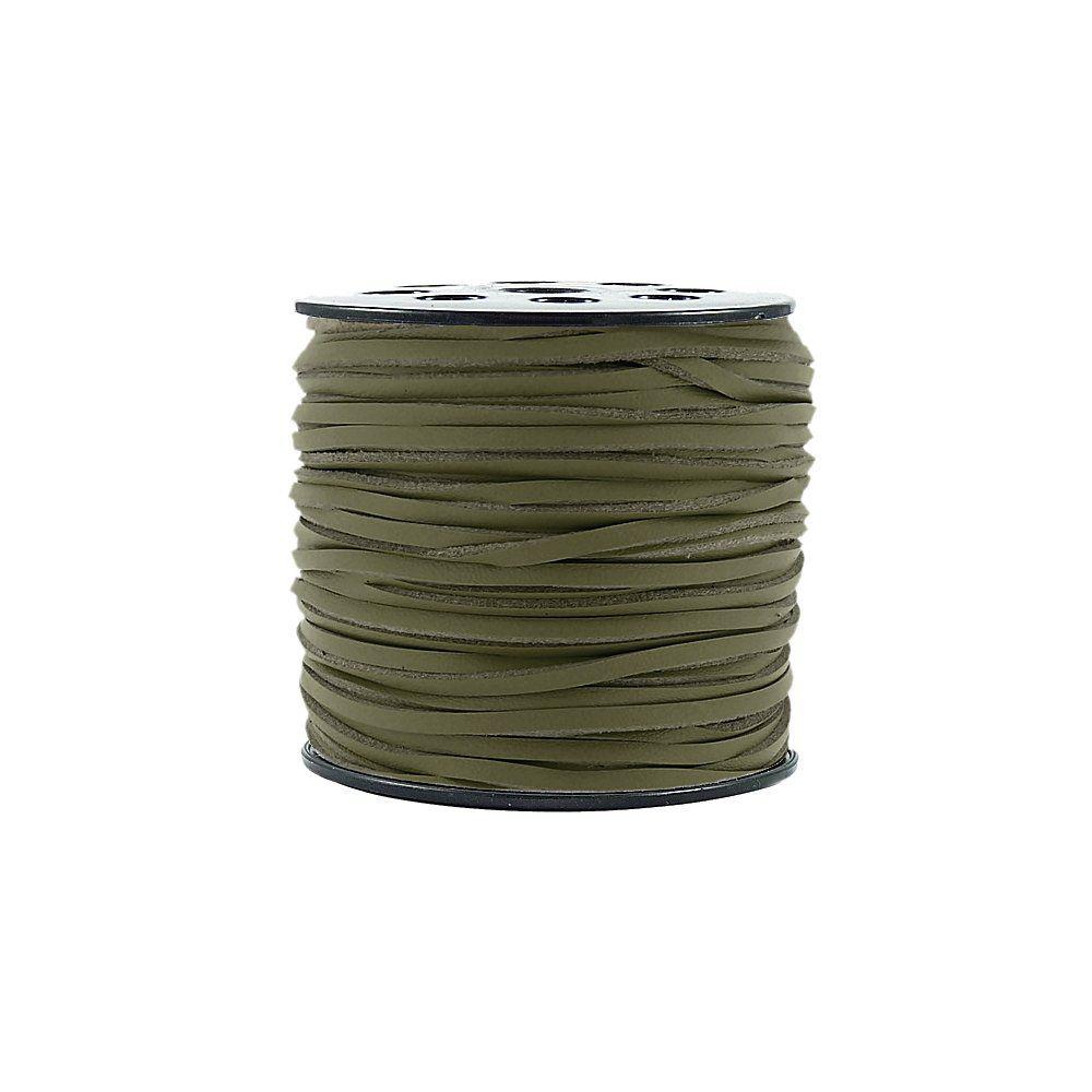 Fio de Camurça - Verde Oliva Especial - 3mm - 100m  - Nathalia Bijoux®