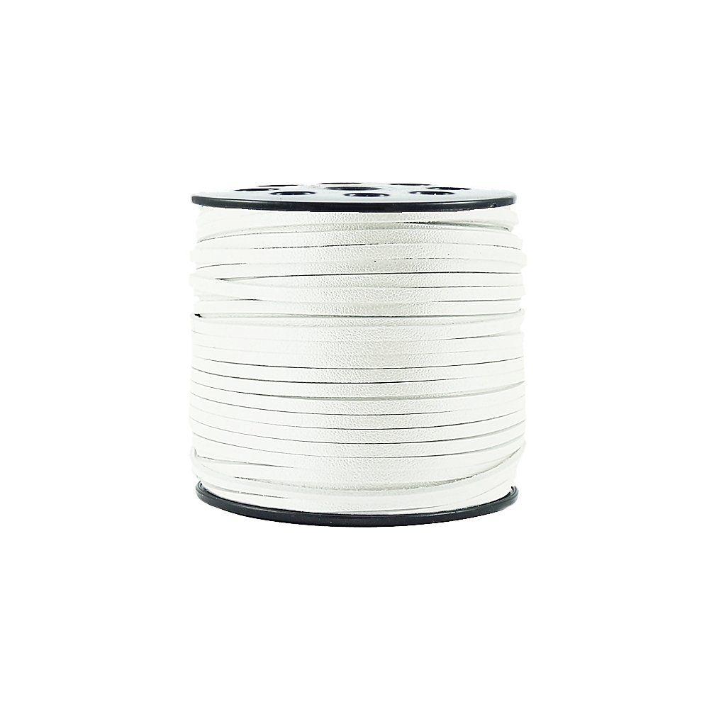 Fio de Camurça - Branco Neve Especial - 4mm - 50m  - Nathalia Bijoux®