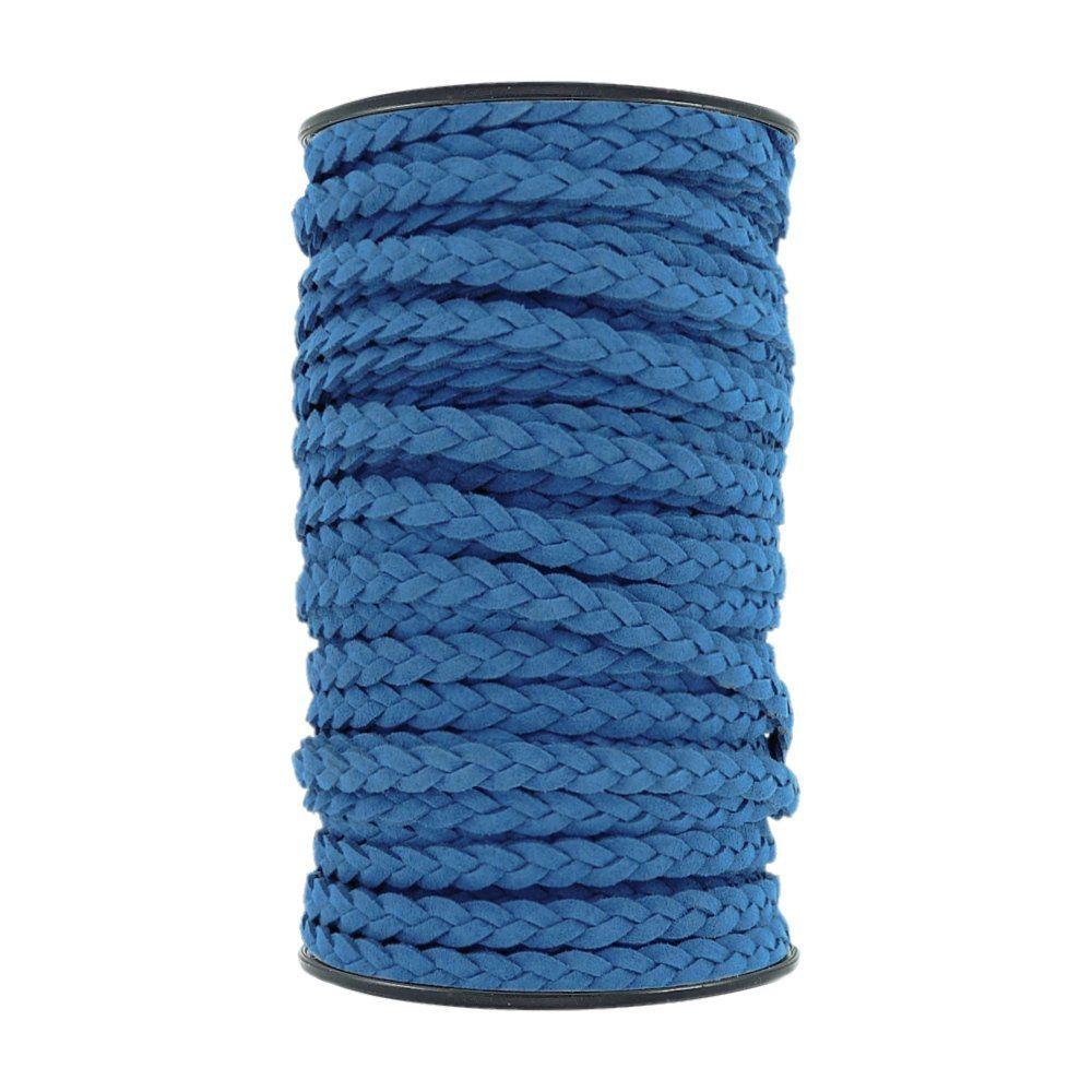 Fio de Camurça Trançada - Azul Royal - 6mm - 50m  - Nathalia Bijoux®