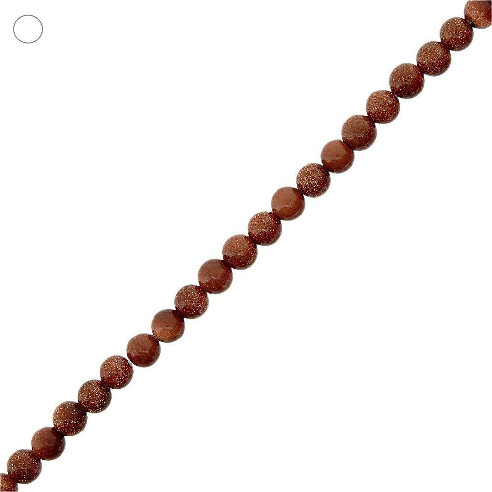 Fio de Bolinhas de Pedra do Sol - 6mm - 40cm  - Nathalia Bijoux®