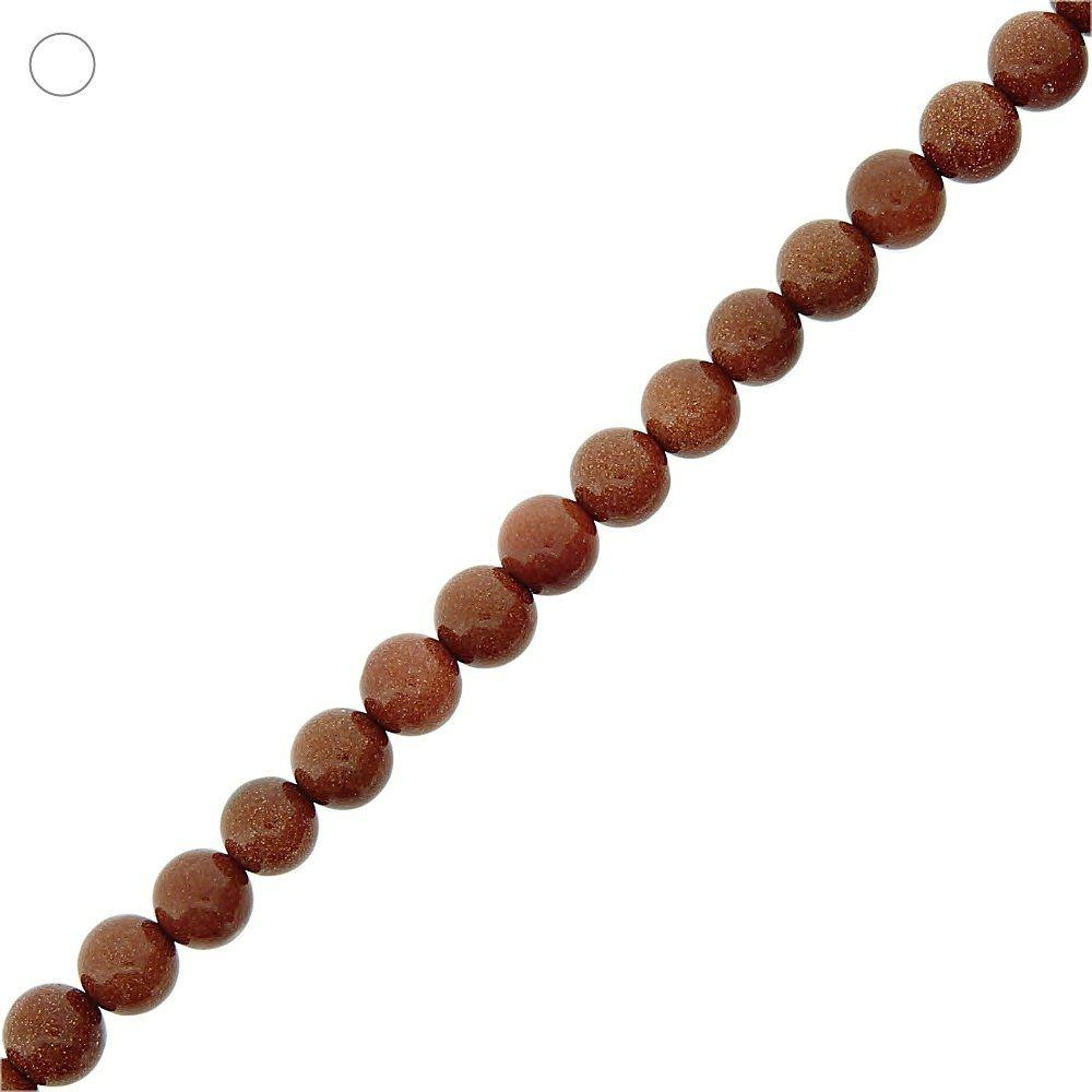 Fio de Bolinhas de Pedra do Sol - 8mm - 40cm  - Nathalia Bijoux®