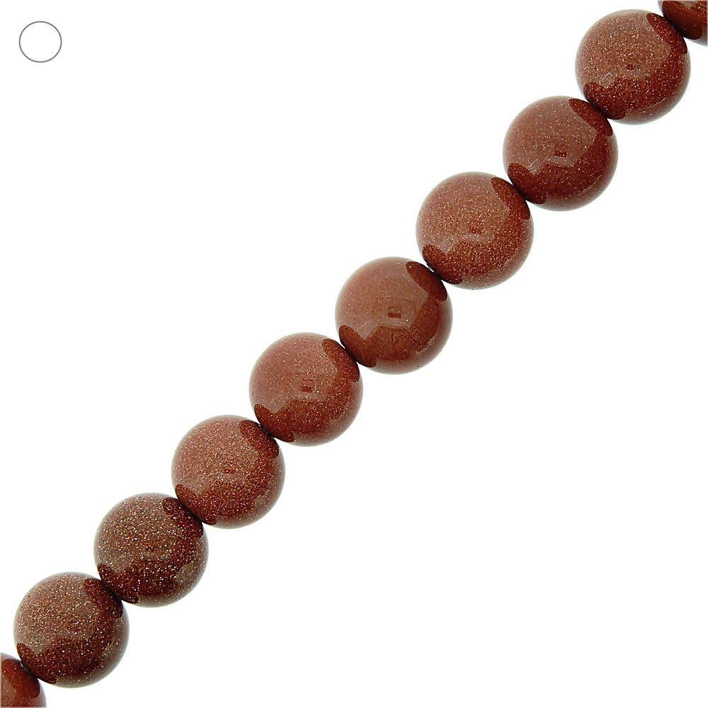 Fio de Bolinhas de Pedra do Sol - 14mm - 40cm  - Nathalia Bijoux®