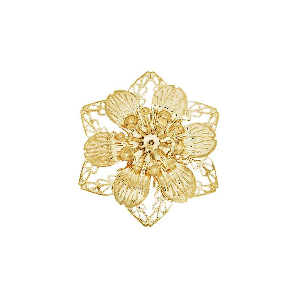 Pingente Flor de Metal - 43mm  - Nathalia Bijoux®