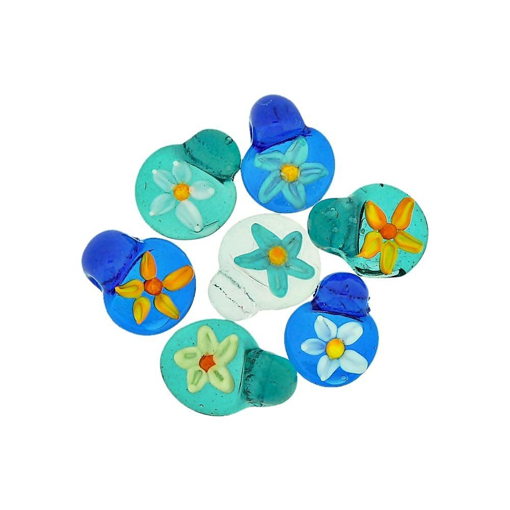 Pingente com Flor de Murano - 18mm - 5pçs  - Nathalia Bijoux®