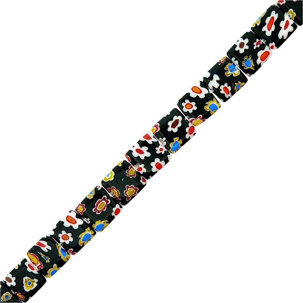 Fio de Pastilhas Quadradas de Murano - 10mm - 38cm  - Nathalia Bijoux®