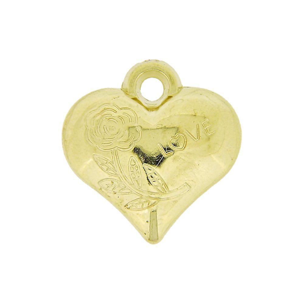 Pingente Coração Love com Flor de ABS - 20mm  - Nathalia Bijoux®