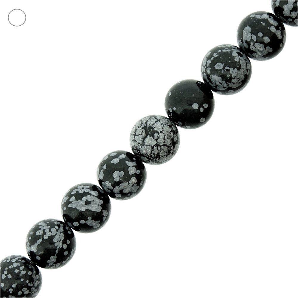 Fio de Bolinhas de Obsidiana Flocos de Neve - 14mm - 40cm  - Nathalia Bijoux®