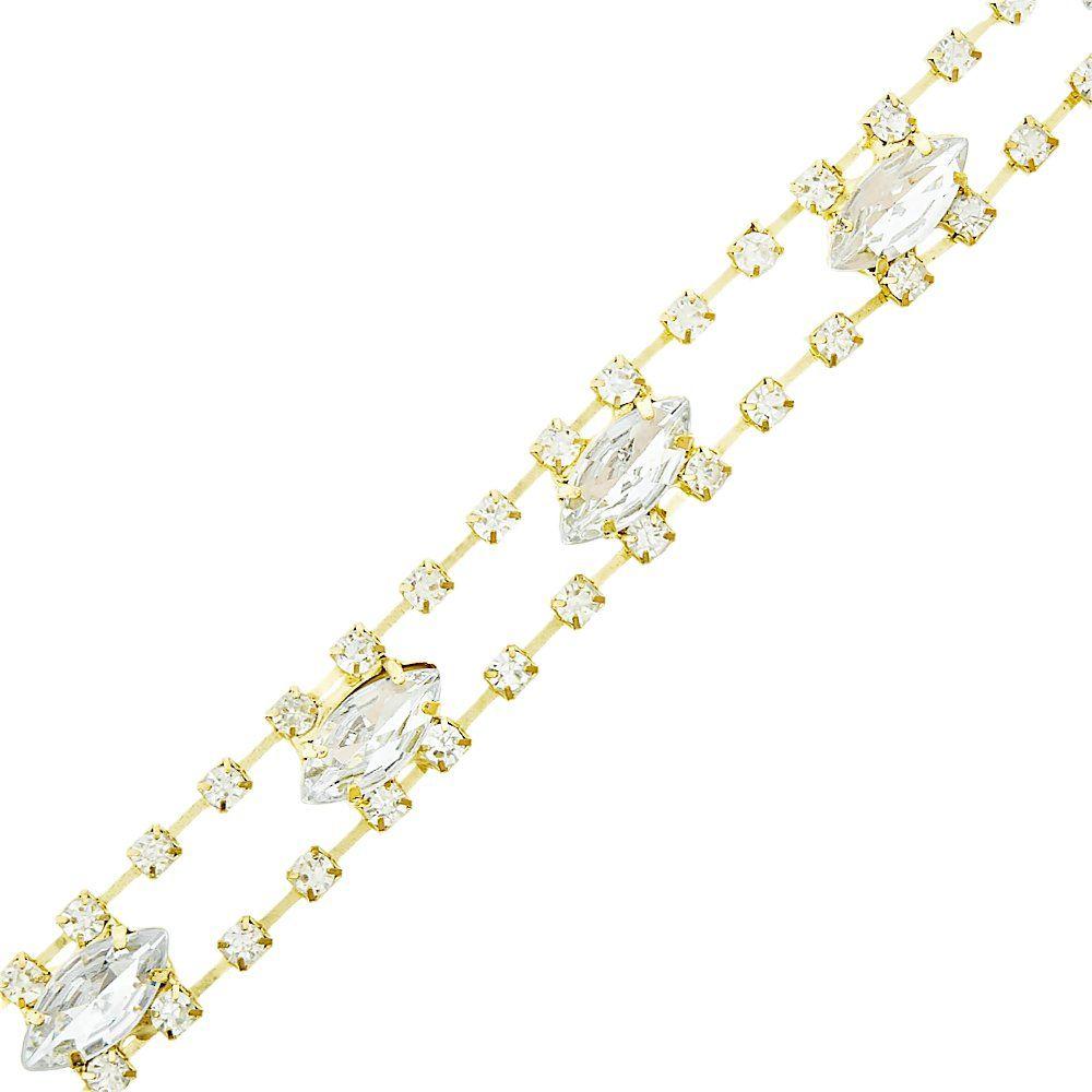 Corrente de Strass - SS14 - Cristal com Cristal - 4.5m  - Nathalia Bijoux®