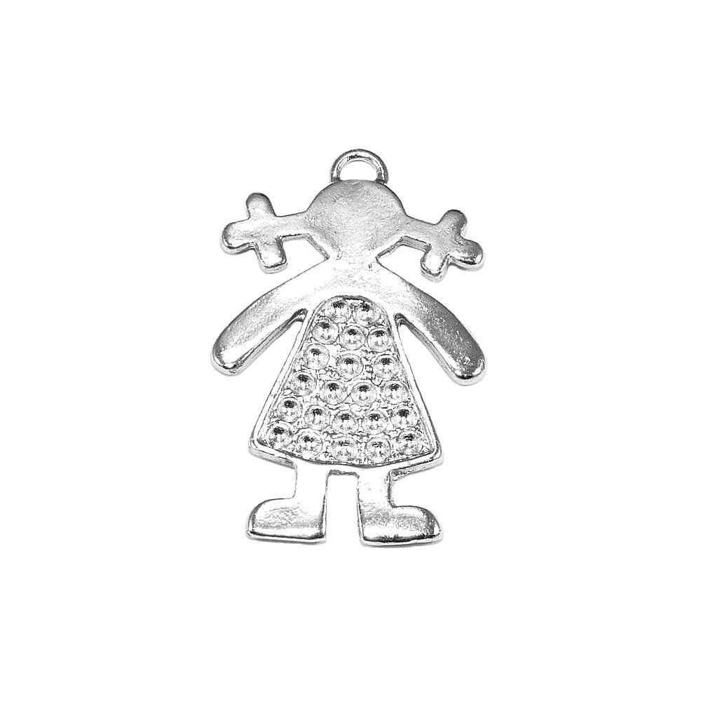 Pingente Menina de Metal - 34mm  - Nathalia Bijoux®