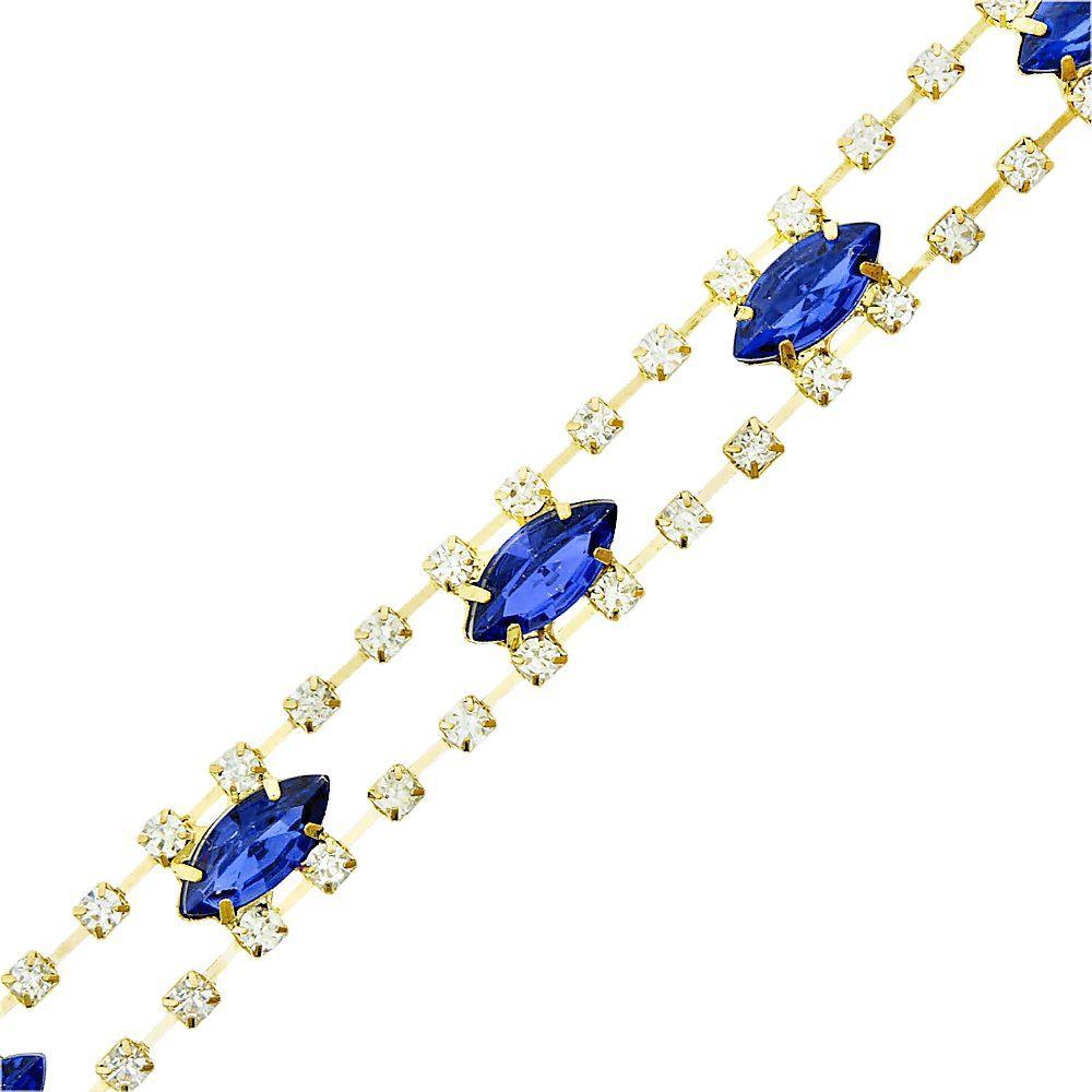 Corrente de Strass - SS14 - Cristal com Sapphire - 4.5m  - Nathalia Bijoux®