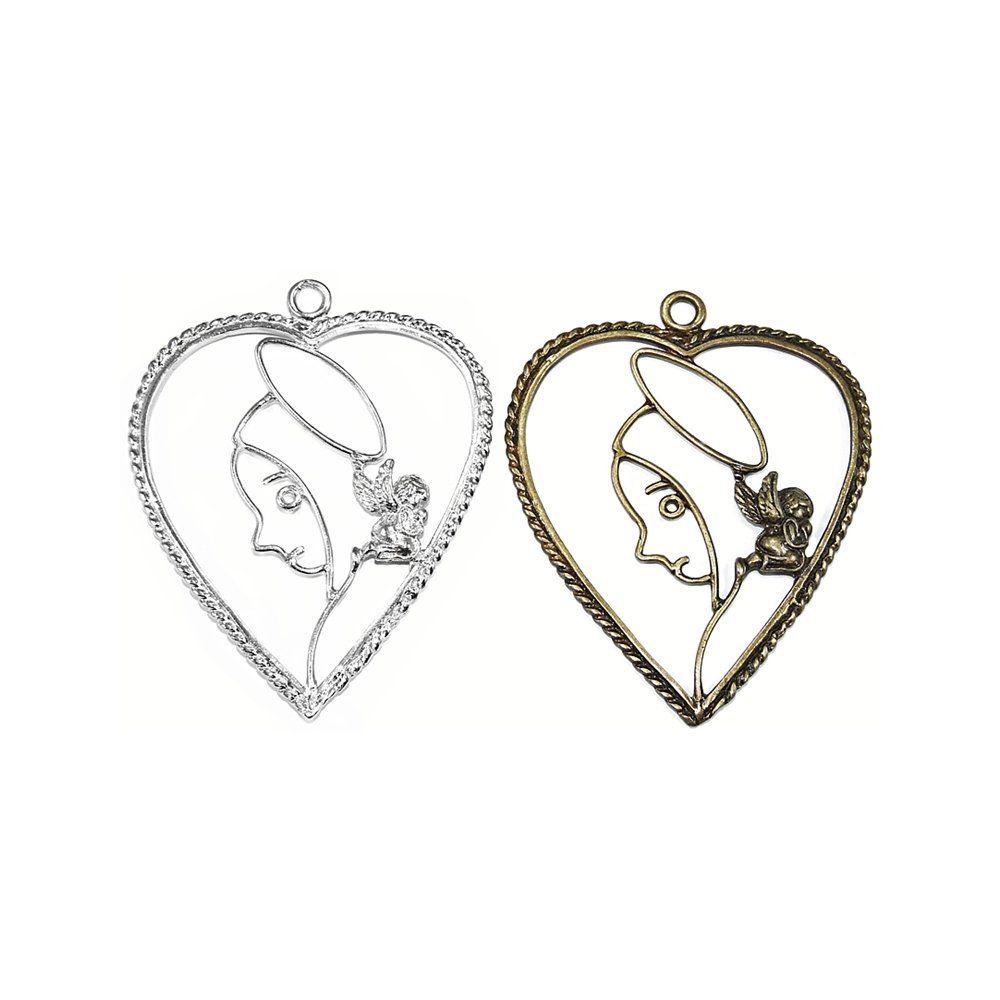 Pingente Coração Nossa Senhora de Metal - 84mm  - Nathalia Bijoux®