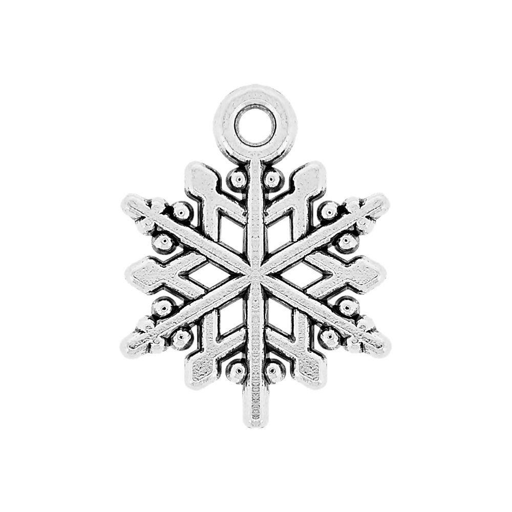 Pingente Floco de Neve de Metal - 20mm  - Nathalia Bijoux®