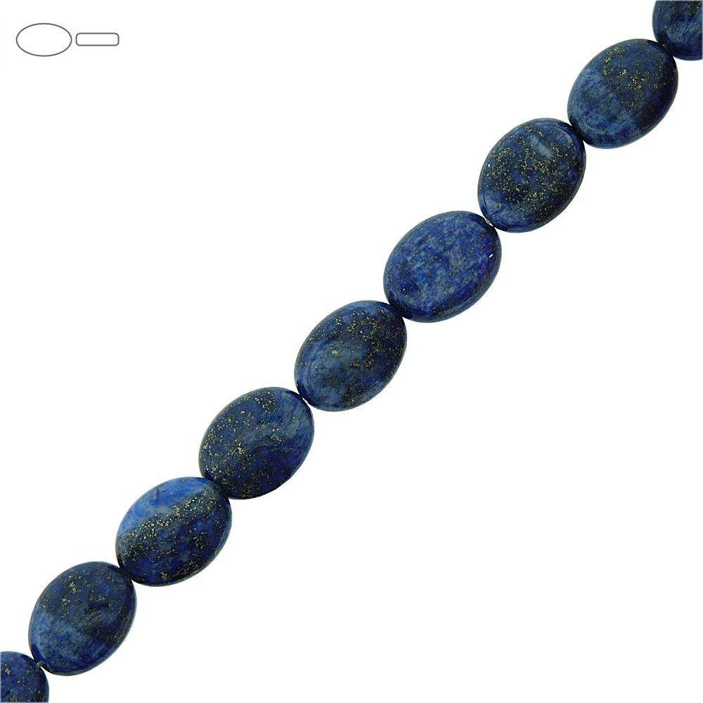 Fio de Pastilhas Ovais de Lapis Lazuli - 15mm - 40cm  - Nathalia Bijoux®