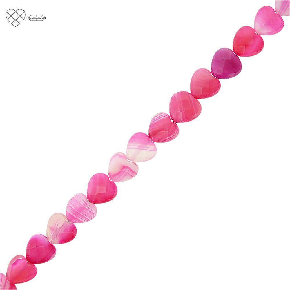 Fio de Corações Facetados de Ágata Pink - 10mm - 40cm  - Nathalia Bijoux®