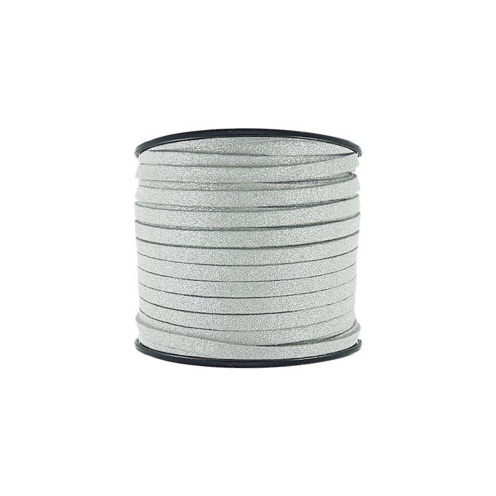 Fio de Camurça - Cinza com Glitter Prata - 5mm - 50m  - Nathalia Bijoux®