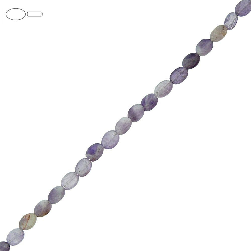 Fio de Pastilhas Ovais de Ametista - 7mm - 40cm  - Nathalia Bijoux®