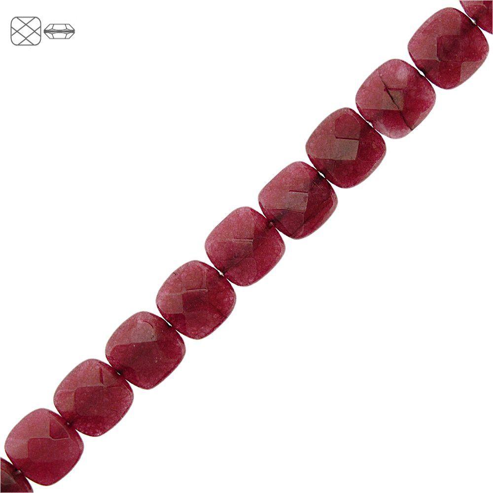Fio de Pastilhas Quadradas Facetadas de Jade Rubi - 12mm - 40cm  - Nathalia Bijoux®