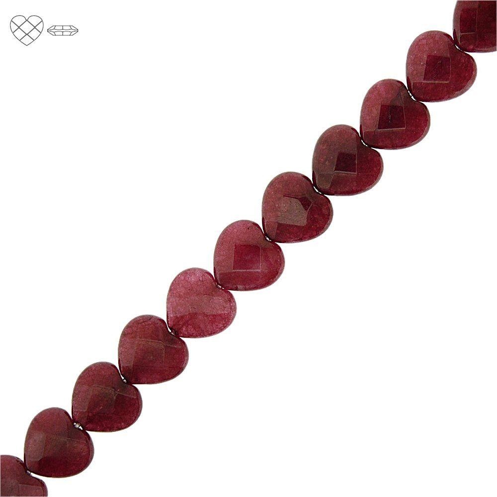 Fio de Corações Facetados de Jade Rubi - 12mm - 40cm  - Nathalia Bijoux®