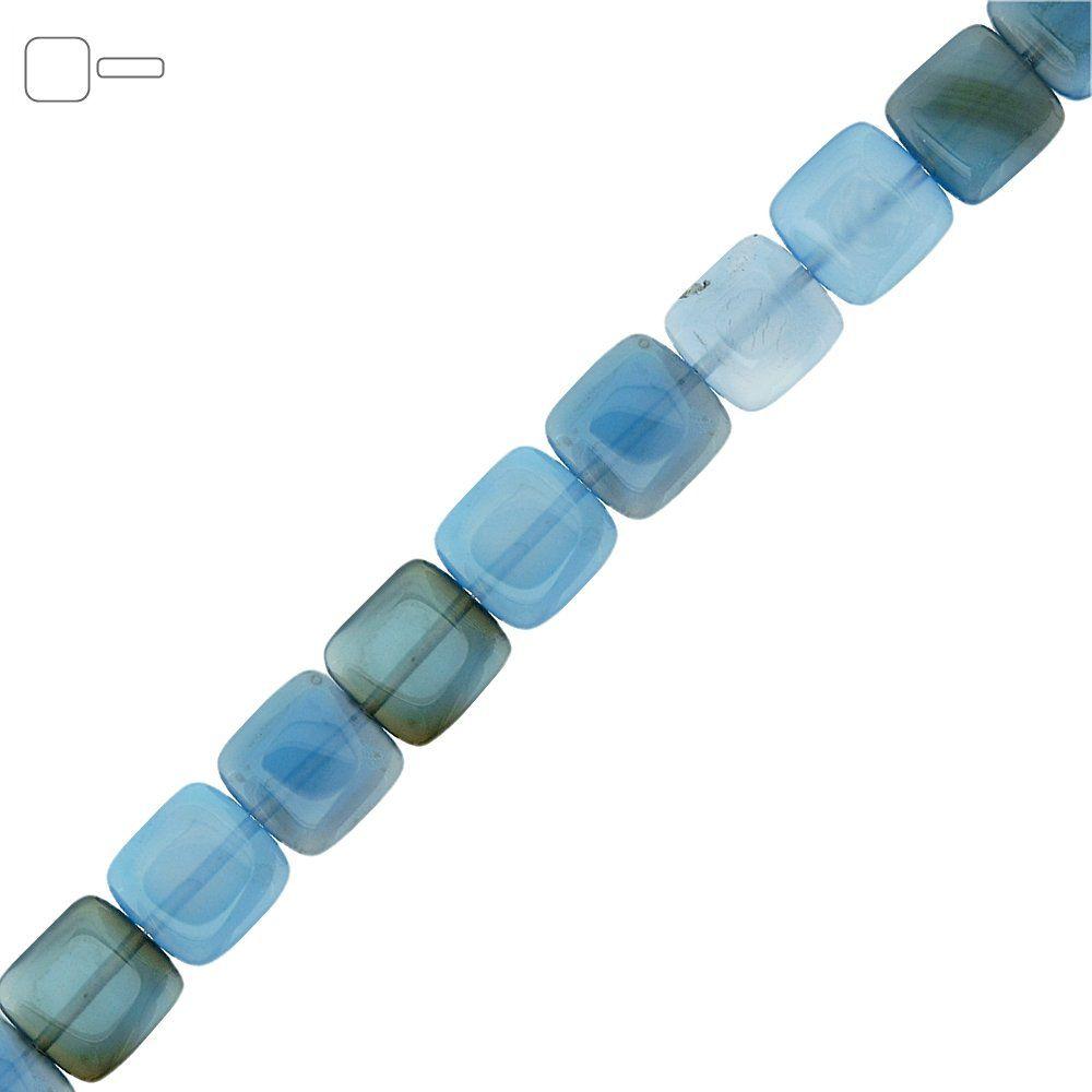 Fio de Pastilhas Quadradas de Ágata Azul - 12mm - 40cm  - Nathalia Bijoux®