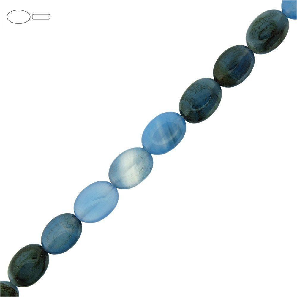 Fio de Pastilhas Ovais de Ágata Azul - 14mm - 40cm  - Nathalia Bijoux®