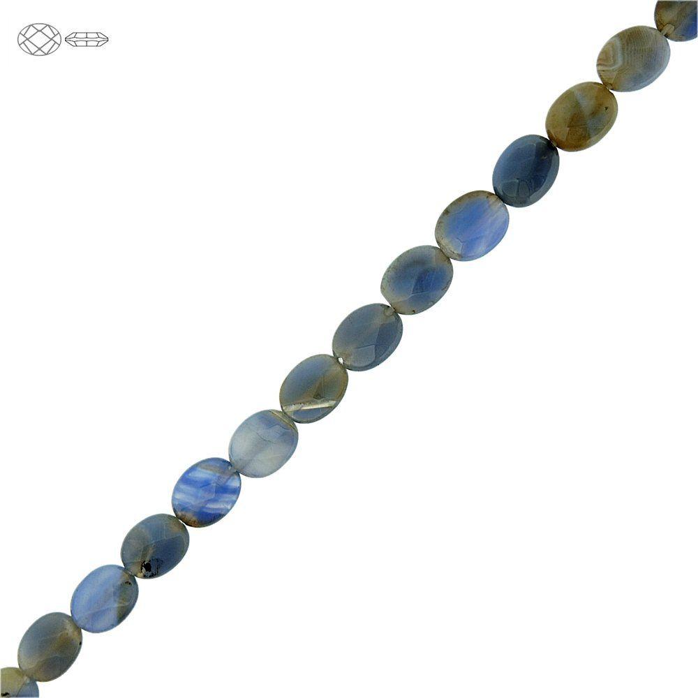 Fio de Pastilhas Ovais Facetadas de Ágata Azul - 9mm - 40cm  - Nathalia Bijoux®