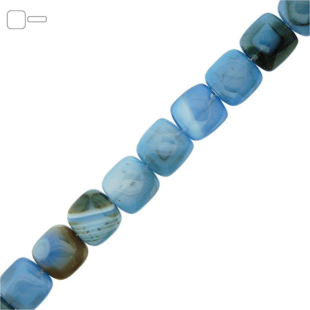 Fio de Pastilhas Quadradas de Ágata Azul - 13mm - 40cm  - Nathalia Bijoux®